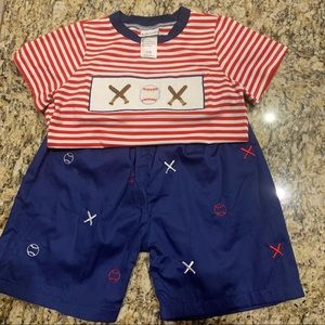 Smocked Baseball Patriotic 2 piece short set